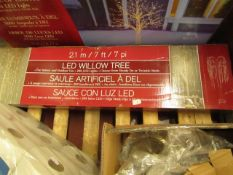 2.1m LED Willow Tree. For indoor/outdoor. Boxed but untested