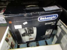 DeLonghi Dinamica Plus coffee machine, powers on but not tested all functions and boxed. RRP £599.