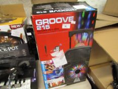 Groove 215 portable all in one speaker, unchecked and boxed due to no power cable.