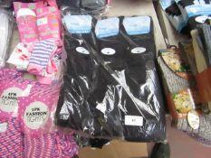 12 X Pairs of Ladies Cotton Lycra Socks Black Knee High Size 4-7 New in Packaging