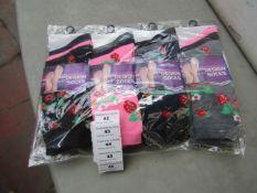 12 X Pairs of Ladies Design Socks Size 4-7 New in Packaging