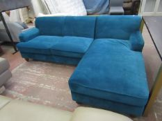 | 1x | MADE.COM ORSON SEAFOAM BLUE VELVET CHAISE END CORNER SOFA | VERY GOOD CONDITION | RRP£999 |
