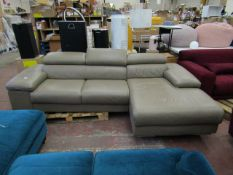 Nicolleti corner sofa with headrest, includes feet. May have a few marks and scuffs, RRP £2499