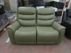| 1X | 2 SEATER OLIVE GREEN LEATHER LA Z BOY MANUAL RECLINING SOFA IN VERY GOOD CONDITION, COMES