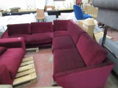 | 1X | SWOON BURGANDY VELOUR 5 SEATER CORNER SOFA | HAS MINOR MARKS AND NO FEET | RRP CIRCA £2000 |