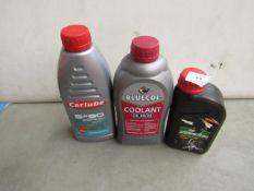 1x Bluecol - Coolant OE 30/34 - 1 Litre - Unused. 1x Carlube - 5W/30 Engine Oil - 1 Litre -