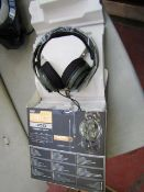 2x RIG 400 gaming headphones, one has fabric headband come off and other has only one ear working.