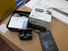 Sony Wf-1000XM3 wireless noise cancelling earbuds, tested working but charg untested and boxed.