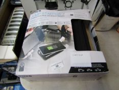 Type S jump starter and portable power bank with wireless charging. Unchecked and boxed.