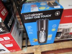 Soda Stream spirit one touch electrc sparkling water maker, unchecked and boxed.