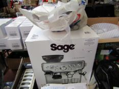 Sage the Barista Express coffee machine, powers on but not all functions tested and boxed. RRP £