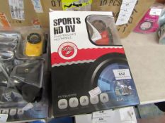 Sports HD DV action camera with accessories, tested working and boxed.