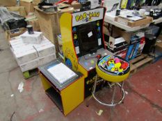 Pac-Man arcade machine with stool and height riser, powers on but screen does not display. RRP