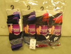 12 X Pairs of Ladies Design Socks Size 4-7 New & Packaged