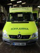 Mercedes Sprinter 416CDI Ambulance, FX56 HMH, First reg 01 12 2006, Revenue weight 4600 KG Gross,