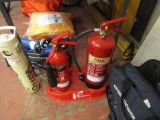Set of 2x fire extinguishers, foam and carbon dioxide with stand.