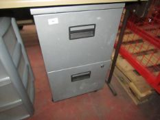 2 Drawer metal filing cabinet, unchecked