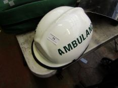 PACIFIC AMBULANCE PROTECTIVE HELMET MEDICAL EMERGENCY PARAMEDIC DOCTOR, Missing plastic guard,