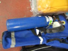 Nitrous Oxide and Oxygen compressed tank with carry case and accessories, unchecked.