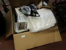 Box of medical supplies which include Tubing, Dressing and more, all unchecked