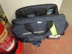 Oxygen / entonox duffel bag containing various equipment such as oxygen filters and more. All