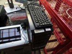 Unbranded PC tower, unchecked for working, comes with Keyboard that has misisng letters