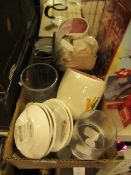 Box Containing Approx 16 Various Kitchen Items Being: Shot Glasses, Mugs, Jars Etc.