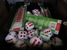 Box Containing Approx 30+ - England Mini Scarfs & England Dice - Unused & Boxed.