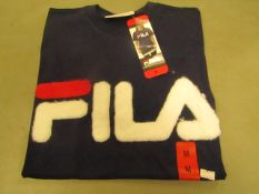 Fila T/Shirt With Faux Fur Design on The Front Navy Ladies Size M New With Tags
