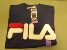 Fila T/Shirt With Faux Fur Design on The Front Navy Ladies Size X/S New With Tags