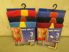 2 X PKS of 3 Mens Free Willy Boxer Shorts Size M All New & Packaged