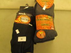 12 X Pairs of Mens Thermal Socks 6 Are Non Elastic Tops All Size 6-11 All New & Packaged 4