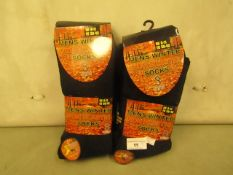 6 X Pairs of Mens Non Elastic Winter Socks size 6-11 New in Packaging