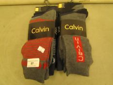 6 X Pairs of Mens Design Socks Size 6-11 New & Packaged
