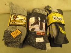 11 X Pairs of Mens Socks All Size 6-11, Hike Boot Sock Wool Boot Socks & Work Socks All New