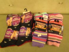 12 X Pairs of Ladies Socks Being.6 X Thermal & 6 X Design all size 4-7 all New & Packaged