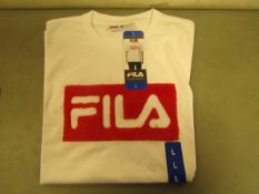 Fila T/Shirt With Faux Fur Design on The Front Navy Ladies Size L New With Tags