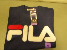 Fila T/Shirt With Faux Fur Design on The Front Ladies Navy Size X/S New With Tags