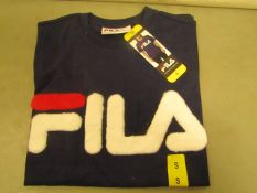 Fila T/Shirt With Faux Fur Design on The Front Navy Ladies Size S New With Tags