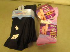 6 X Pairs of Socks Being..3 X Ladies Size 4-7 & 3 X Mens Black Sport Socks All New