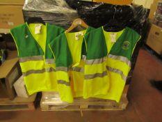 3x Emergency Training Hi Vis vests, size L, unchecked.