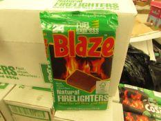 24 x packs Blaze - Fuel Express Natural Fire Lighters (24 Small Cubes Per Pack) - RRP £1.50 per