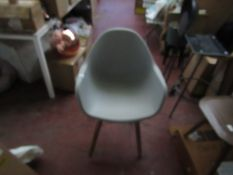   1X   COX AND COX PLASTIC AND WOOD TUB CHAIR   UNUSED BUT HAVE SOME MINOR MARKS ON THE LEGS THE