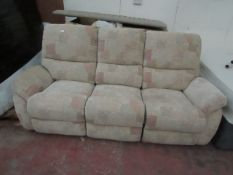   1X   3 SEATER FABRIC LA Z BOY MANUAL RECLINING SOFA IN VERY GOOD CONDITION, COMES WITH ORIGINAL