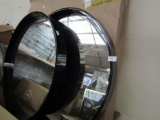   2X   MADE.COM BEX LARGE ROUND MIRROR 76CM   HAS MARKS AND SCRATCHES ON BOTH MIRRORS   RRP CIRCA £