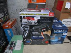   2X   AIR HAWK CORDLESS TYRE INFLATOR   UNCHECKED AND BOXED   NO ONLINE RE-SALE   SKU