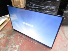 """Toshiba 49"""" TV, tested working for main function (screen display) but has imperfections such as a"""