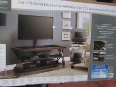 Bayside 3 in 1 TV stand, unchecked and boxed.