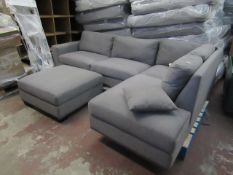 Costco Grey 3 piece corner sofa, complete with feet, looks in good condtion just a coupole of