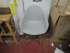 | 1X | COX AND COX PLASTIC AND WOOD TUB CHAIR | UNUSED BUT HAVE SOME MINOR MARKS ON THE LEGS THE